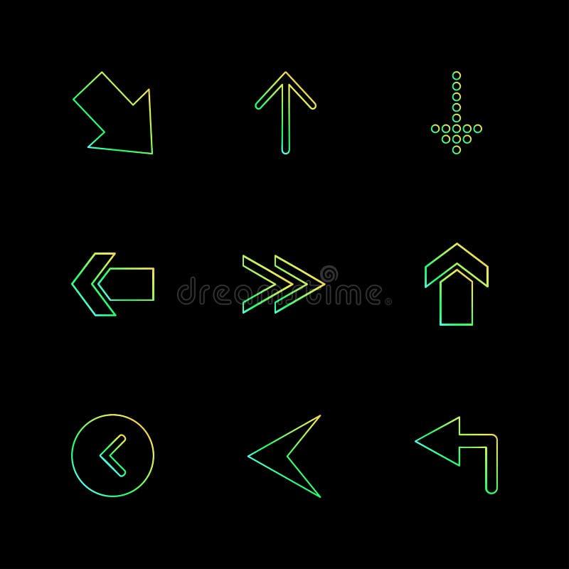 Rückseite, Antriebskraft unten Pfeile, Richtungen, link, recht, poin vektor abbildung