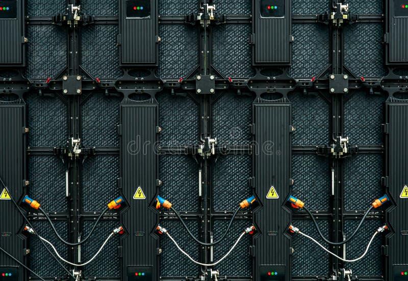 Rückseite der großen LED-Schirmmonitoranzeige Beschaffenheit der hinteren Ansicht von LED-Platten Leistungsaufnahme- und Ertragdr stockbilder