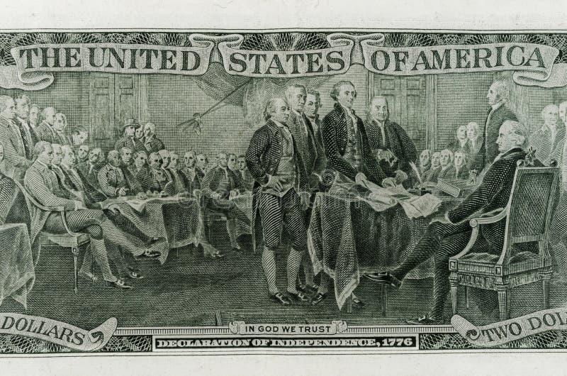 Rückseite des zwei Dollarscheins lizenzfreies stockfoto