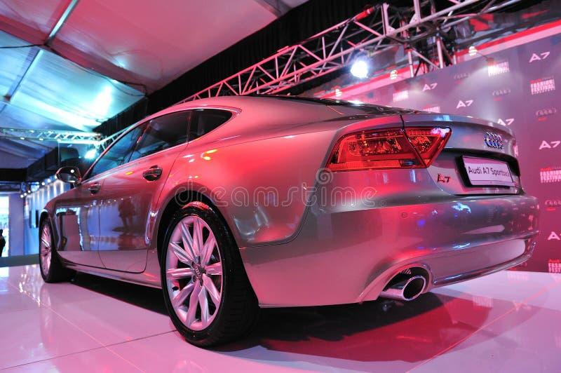 Rückseite eben gestarteten sportback Audis A7 bei Audi Fashion Festival 2011 lizenzfreies stockbild