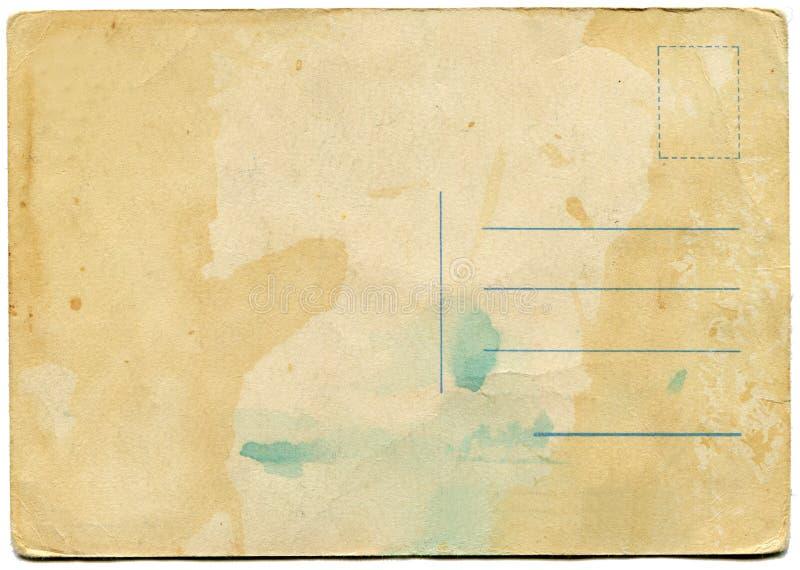 Rückseite einer antiken Postkarte lizenzfreies stockfoto