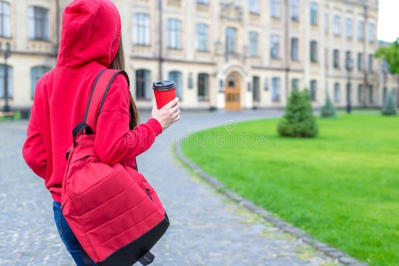 Rückseite hinter Foto der hinteren Ansicht der erfüllten netten Hippie-Person, die den Tee geht zum Gebäude genießt lizenzfreies stockbild