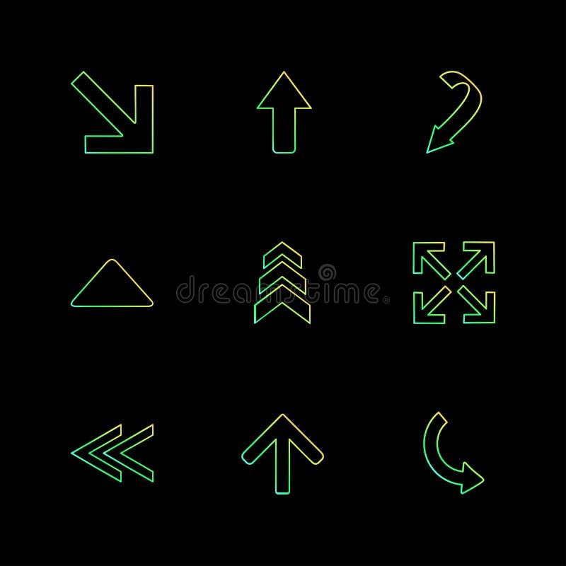 Rückseite, Pfeile, Richtungen, link, recht, Zeiger, ENV-Ikonen s vektor abbildung