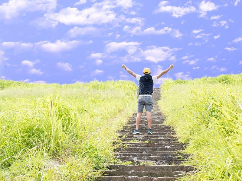 Rückseite von Griffhänden des grünen Grases des jungen Sportmannes stehenden umgebenden herauf das Betrachten zum blauen Himmel F stockbilder
