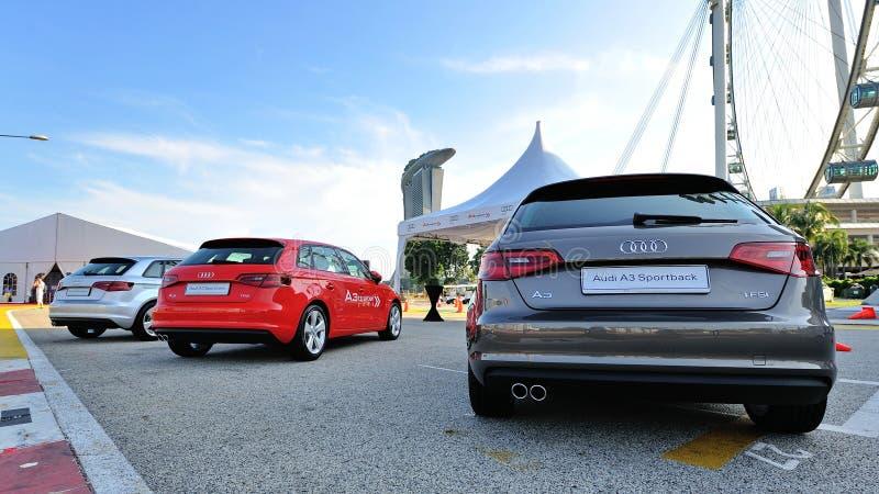 Rückseite von neuem Audi A3 Sportback auf Anzeige am Zonenereignis A3 Ttraktion lizenzfreie stockfotos