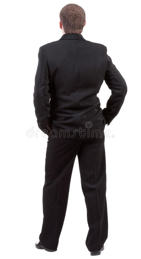 Rückseitenansicht der Person. Hintere Ansicht des Geschäftsmannes schaut nach vorn. stockfotos