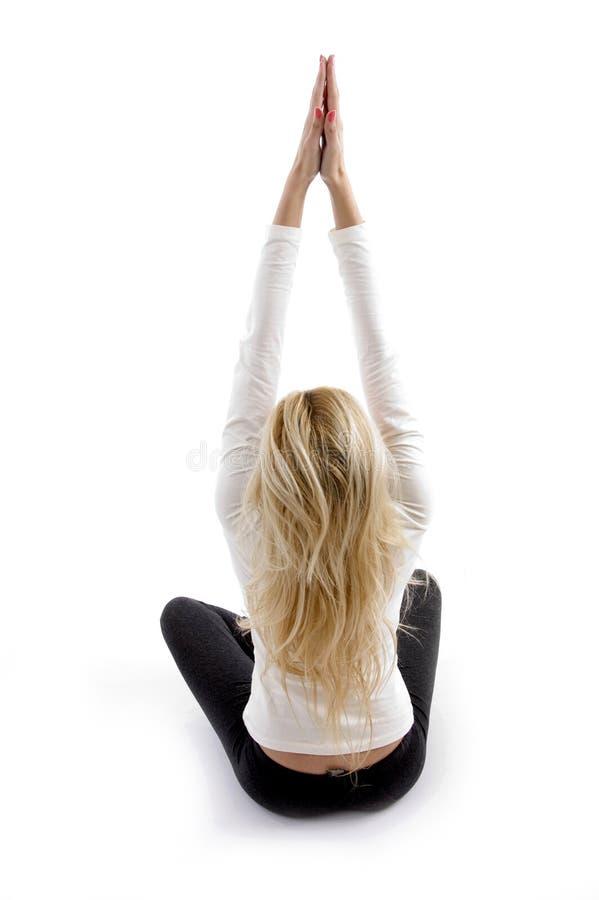 Rückseitige Haltung der Frau Yoga tuend lizenzfreie stockfotografie
