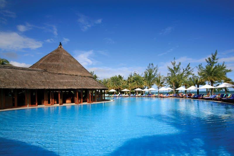 Rücksortierung-Swimmingpool in Mauritius stockfotos