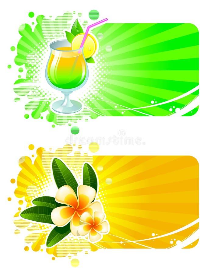 Rücksortierungfelder mit Cocktail u. tropischen Blumen