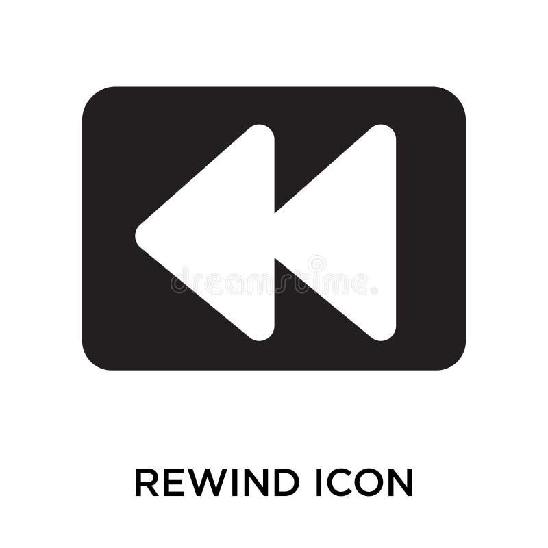 Rückspulen Sie das Ikonenvektorzeichen und -symbol, die auf weißem Hintergrund lokalisiert werden, lizenzfreie abbildung