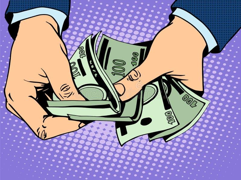 Rückzahlungsbargeld in der Hand lizenzfreie abbildung