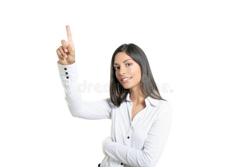 Rührende virtuelle Auflage der Brunettegeschäftsfrau stockfotos