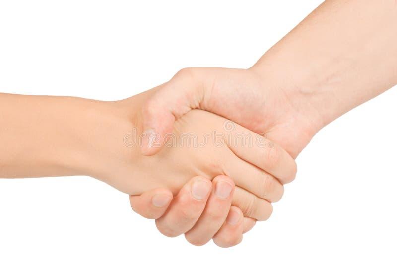 Rütteln der Hände von zwei Leuten, von Mann und von Frau. stockbild
