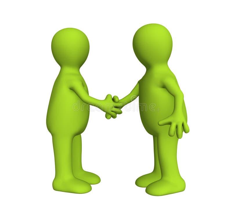 Rütteln Sie Hand von zwei Leuten 3d grüner Farbe lizenzfreie abbildung