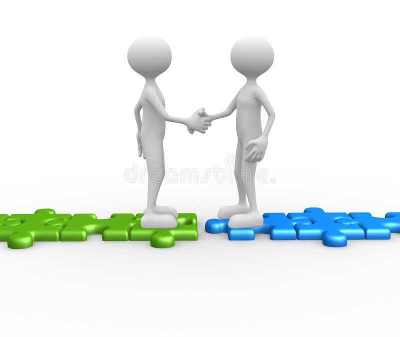 Rütteln von Händen auf Puzzlespielstücken. lizenzfreie abbildung