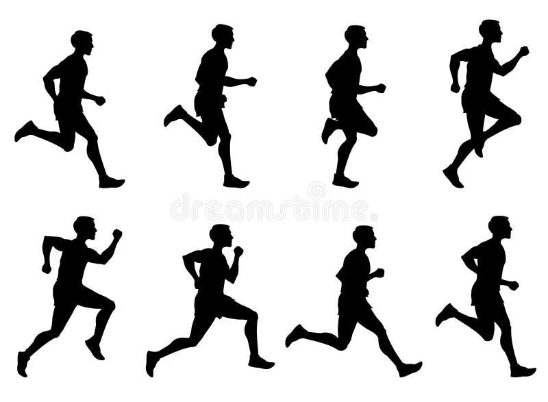 Rüttelnder Mann, laufender Athlet, Läufervektorschattenbilder eingestellt stock abbildung