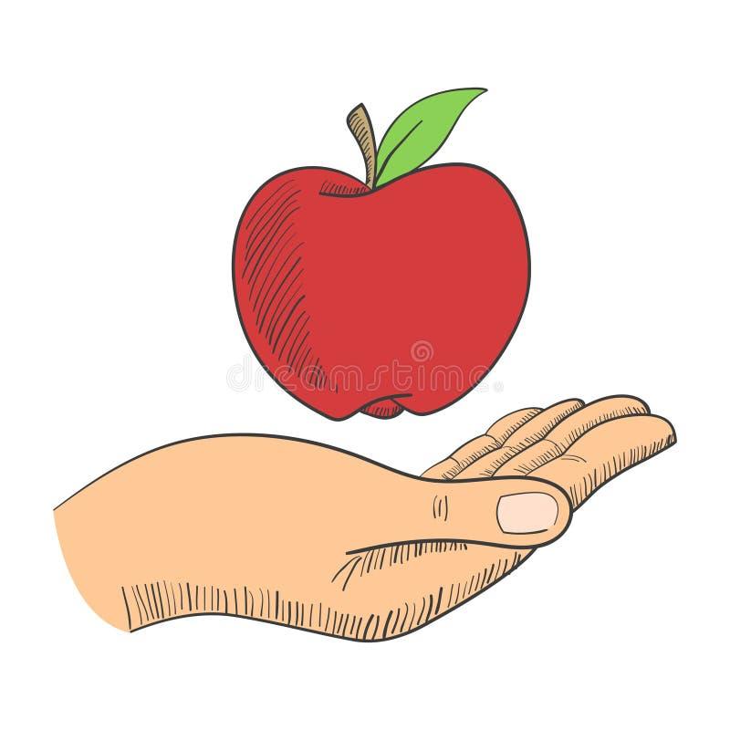 ręce jabłczanej strzelanie do studia ilustracja wektor