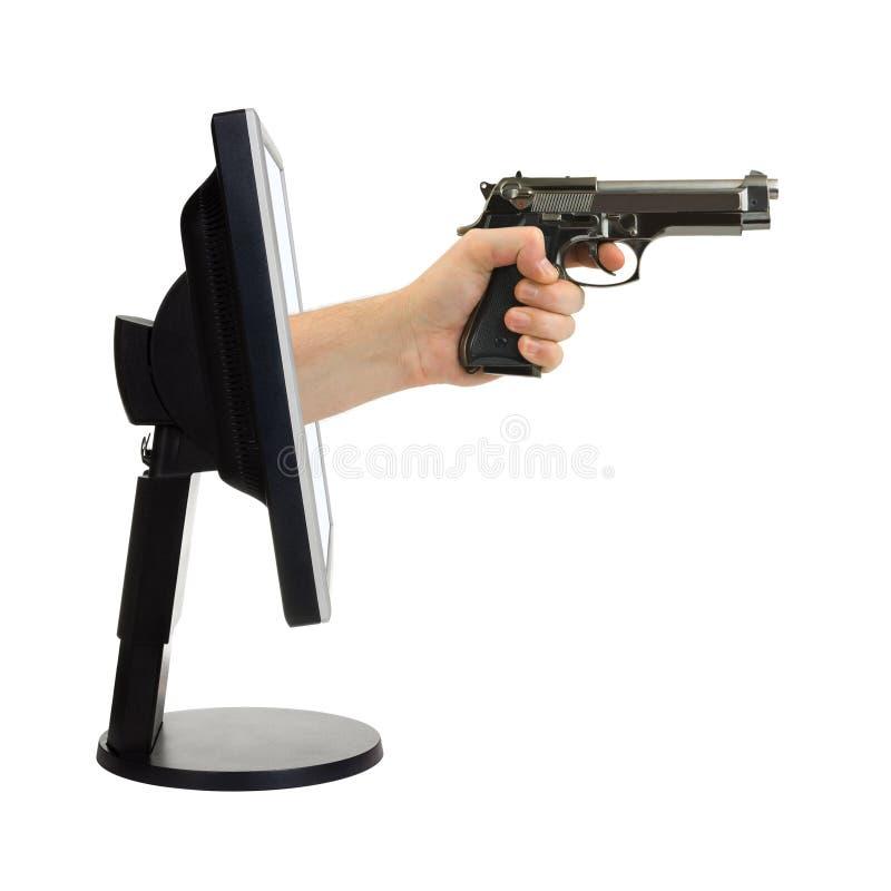 ręce monitor komputera broni obrazy stock