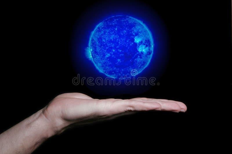 ręce shpere płaski niebieski fotografia stock