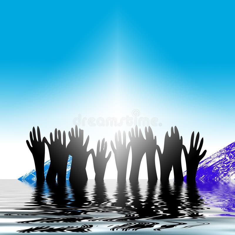 ręce zwiększa wody royalty ilustracja