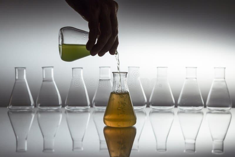 Ręczne wlewanie zielonego do pomarańczowego płynu w kolbie szklanej kolby szklanej laboratoryjnej z wyposażeniem szklanym na odbl zdjęcie royalty free
