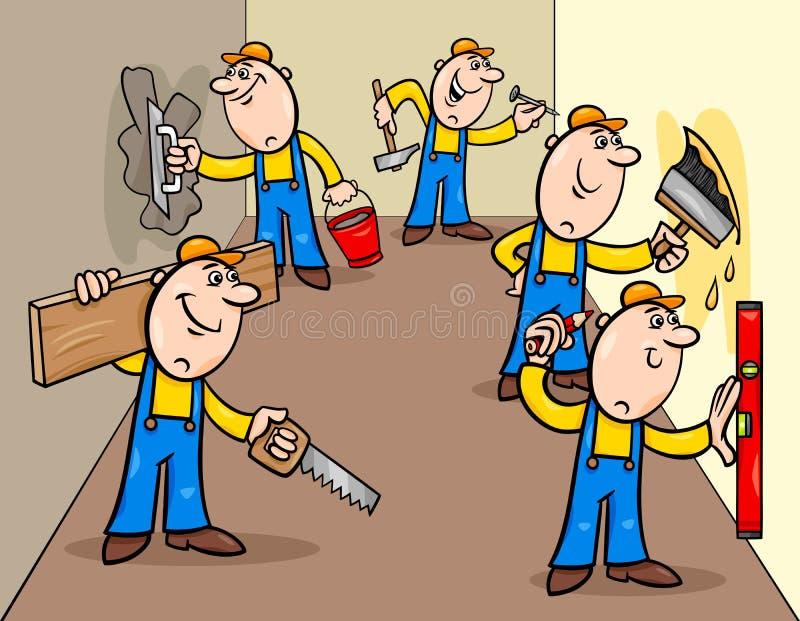 Ręczni pracownicy lub decorators charakterów grupa ilustracji