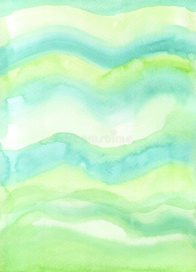 ręcznie malowany Świeża Zielona akwareli tła tekstura zdjęcie stock
