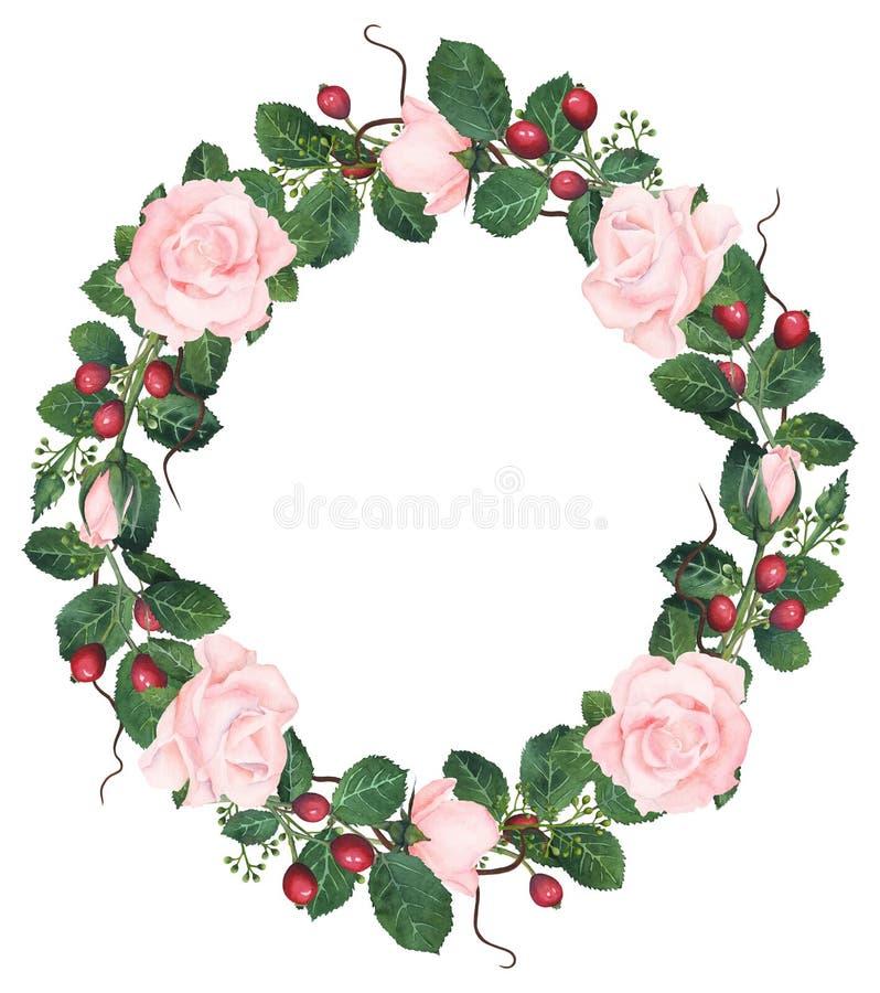 Ręcznie malowany akwareli menchii róż wianek ilustracji
