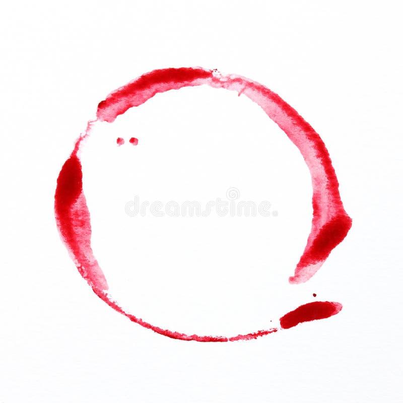 Ręcznie malowany czerwonego okręgu wodny kolor zdjęcia stock