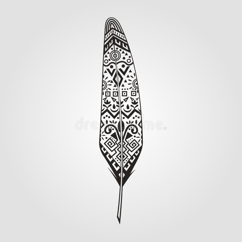 Ręcznie malowany piórko wzór rzeźbiący w stylowych indianach royalty ilustracja