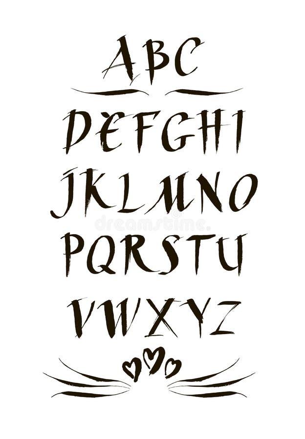 Ręcznie pisany atramentu kaligraficzna chrzcielnica Nowożytny szczotkarski literowanie alfabet narysować ręka Abstrakcjonistyczna ilustracja wektor