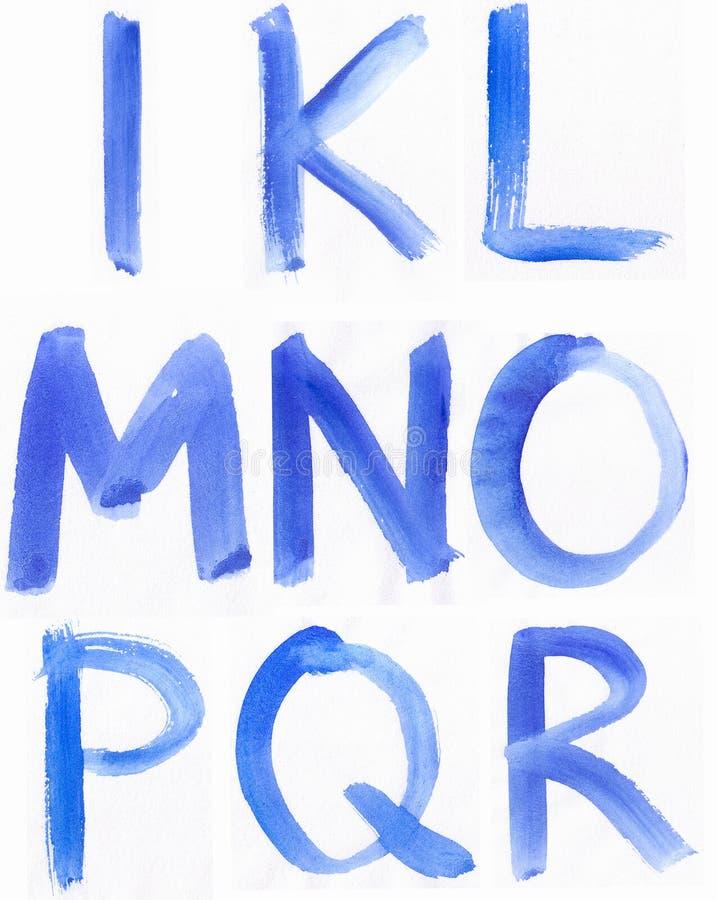 Ręcznie pisany błękitny akwareli abecadło zdjęcie royalty free