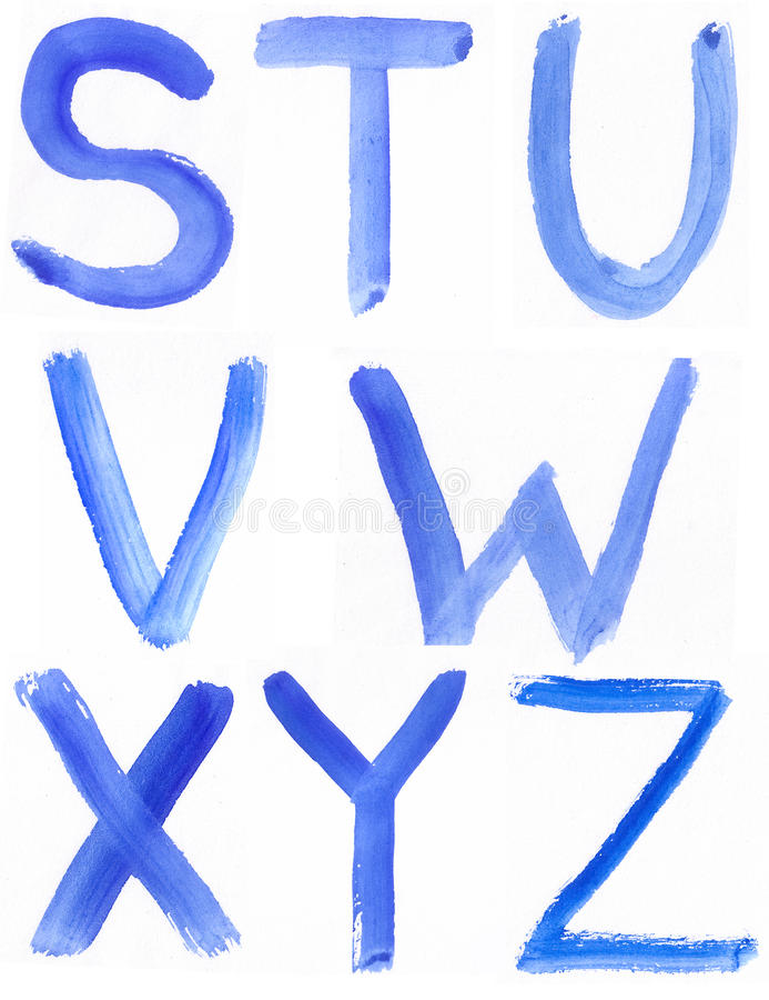 Ręcznie pisany błękitny akwareli abecadło obraz royalty free