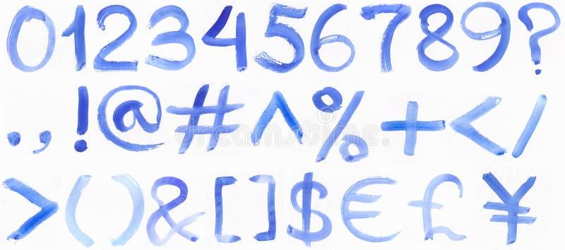 Ręcznie pisany błękitny akwareli abecadło zdjęcia stock