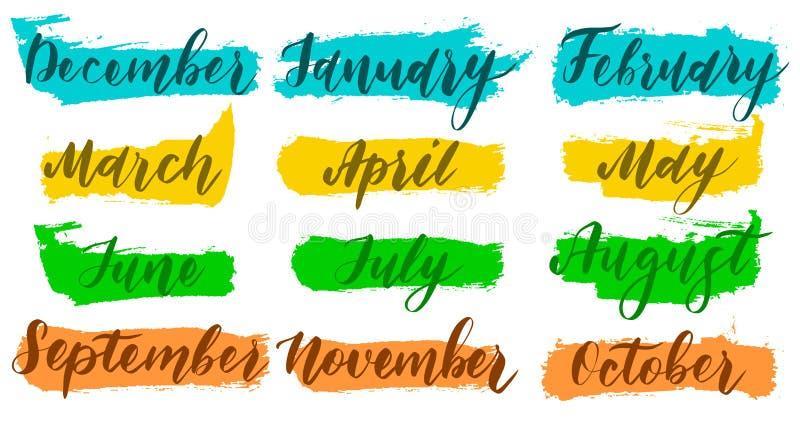 Ręcznie pisany imiona miesiące Grudnie, Styczeń, Luty, Marzec, Kwiecień, Maj, Czerwiec, Lipiec, Sierpniowy Wrzesień Październik L royalty ilustracja