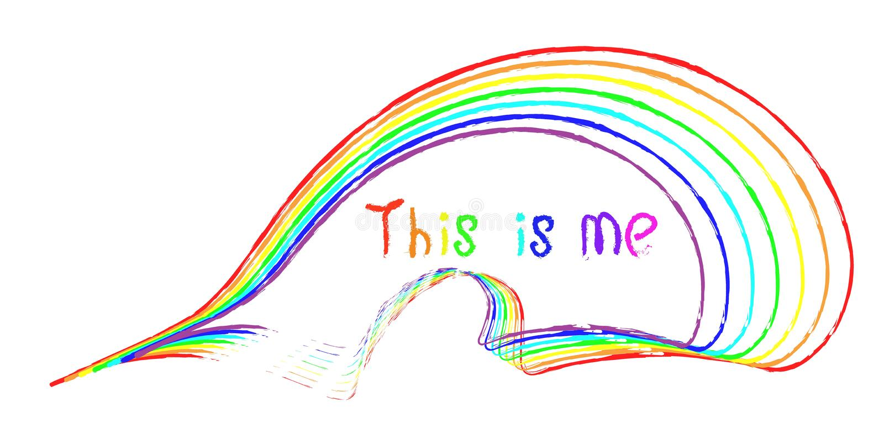 Ręcznie pisany inskrypcja to jest ja w różnych kolorach tęcza royalty ilustracja