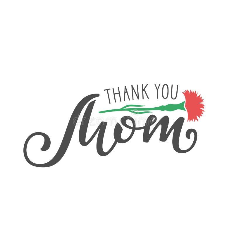 Ręcznie pisany literowanie Dziękować Ty mama na białym tle royalty ilustracja