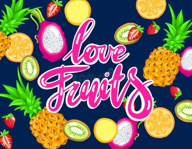 Ręcznie pisany literowanie miłości owoc na jaskrawym tle lato tropikalne owoc royalty ilustracja
