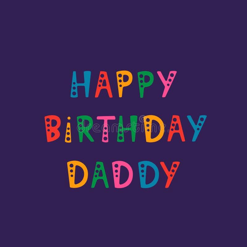 Ręcznie pisany literowanie wszystkiego najlepszego z okazji urodzin ojczulek na purpurowym tle ilustracja wektor
