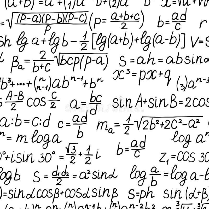 R?cznie pisany matematycznie r?wnania i formu?a bezszwowy wz?r ilustracji