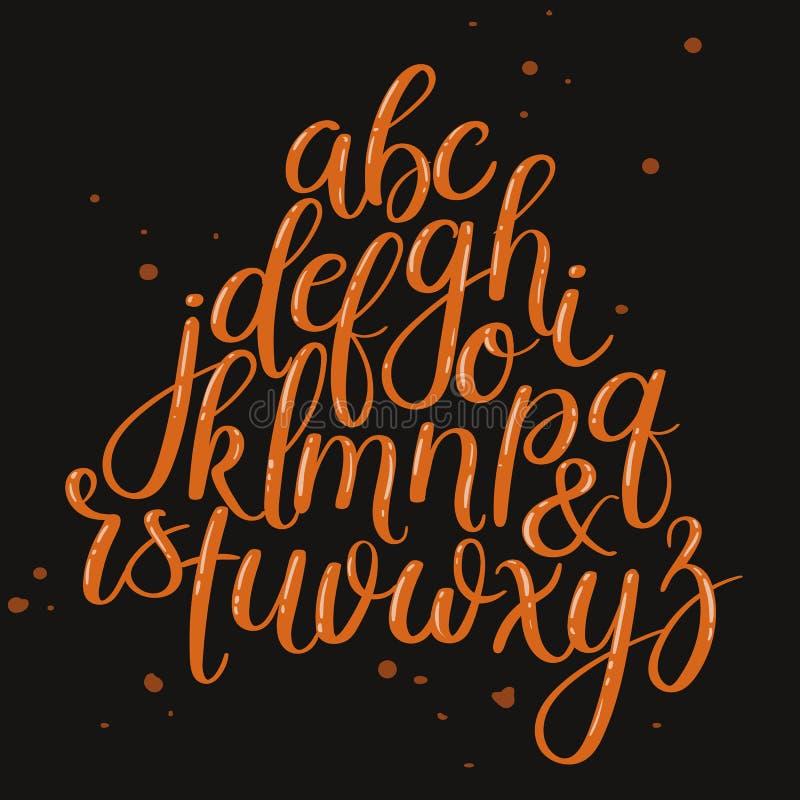 Ręcznie pisany muśnięcie listy ABC Nowożytna kaligrafia Ręki literowania wektoru abecadło ilustracji