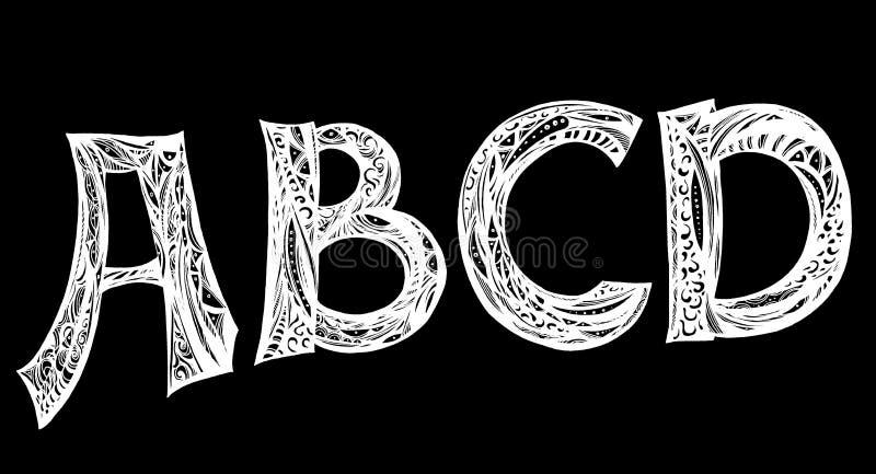 Ręcznie pisany pismo chrzcielnica Ręka rysujący muśnięcie stylu nowożytnej kaligrafii kursywny typeface royalty ilustracja