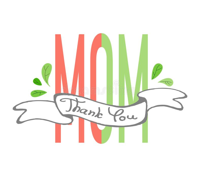 Ręcznie pisany tekst Dziękuje ciebie mama z faborkiem i liśćmi Tekst mama dzieli w dwa koloru ilustracji
