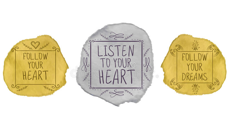 ręcznie pisany tekst na farby uderzeniu kreskówki serc biegunowy setu wektor Złoty i ilustracja wektor