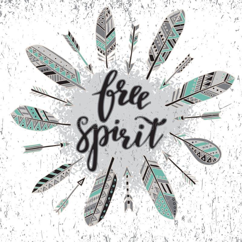 Ręcznie pisany wycena bezpłatny duch z piórkami i strzała ilustracji