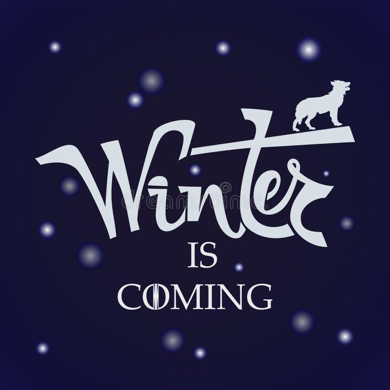 Ręcznie pisany zwrot zima przychodzi ilustracji