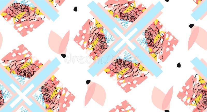 Ręcznie robiony abstrakt textured modnego kreatywnie kolaż bezszwowy wzór z kwiecistym motywem odizolowywającym na białym tle z royalty ilustracja