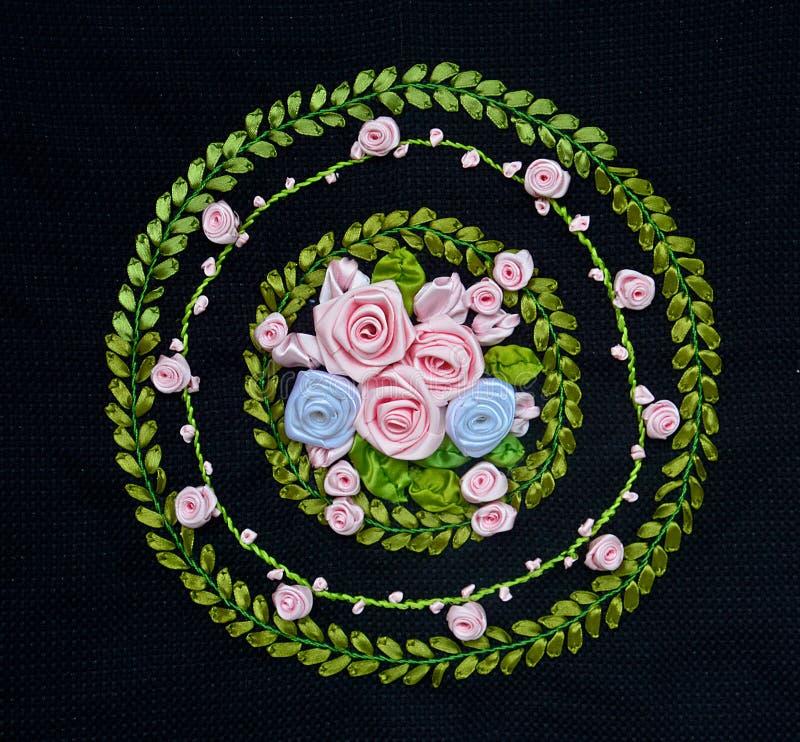 Ręcznie Robiony broderii I ściegu kwiatu projekt obrazy royalty free