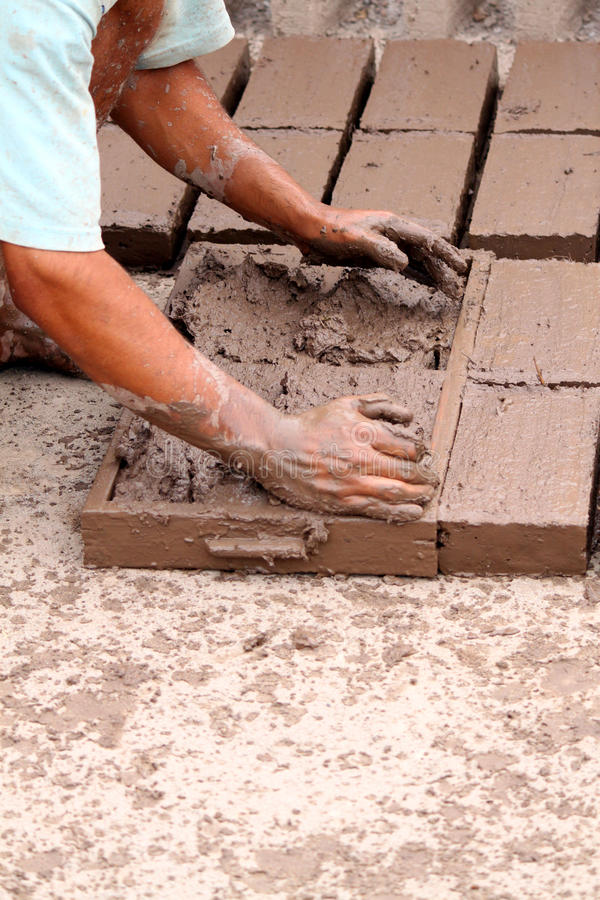ręcznie robiony cegły glina obrazy royalty free