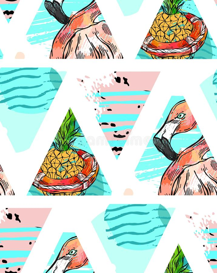 Ręcznie robiony Egzotyczny bezszwowy wzór z tropikalnymi liśćmi, ananasem i menchia flamingiem na abstrakcjonistyczny geometryczn royalty ilustracja